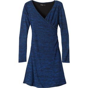 PrAna Nadia Blue Stretch Knit Jersey Dress,S EUC